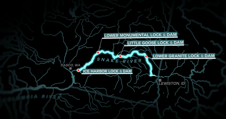 snake river dam map